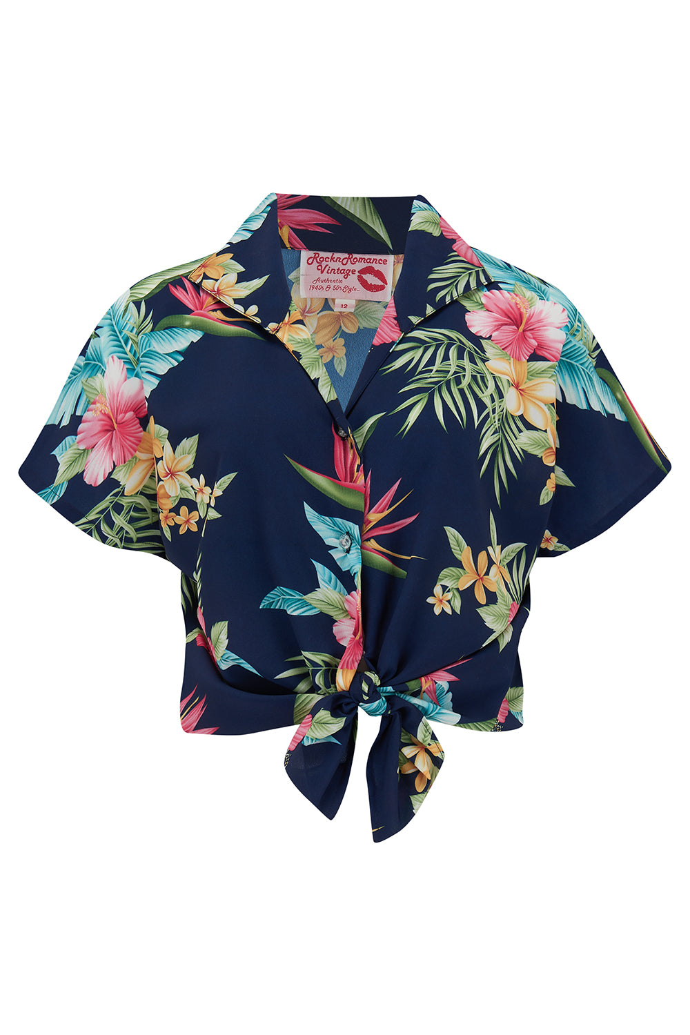 "Pre-Order.. Tuck in or Tie Up ""Maria"" Blouse in Navy Honolulu Print, Authentic 1950s - RocknRomance True 1940s & 1950s Vintage Style"