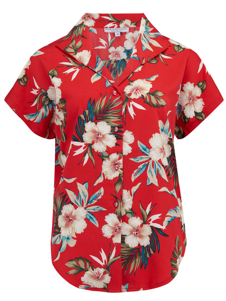 "Rock n Romance Tuck in or Tie Up ""Maria"" Blouse in Red Hawaiian Print Vintage 1950s Tiki Inspired Style - RocknRomance Clothing"