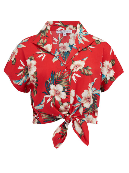 "Tuck in or Tie Up ""Maria"" Blouse in Red Hawaiian Print Vintage 1950s Tiki Inspired Style"