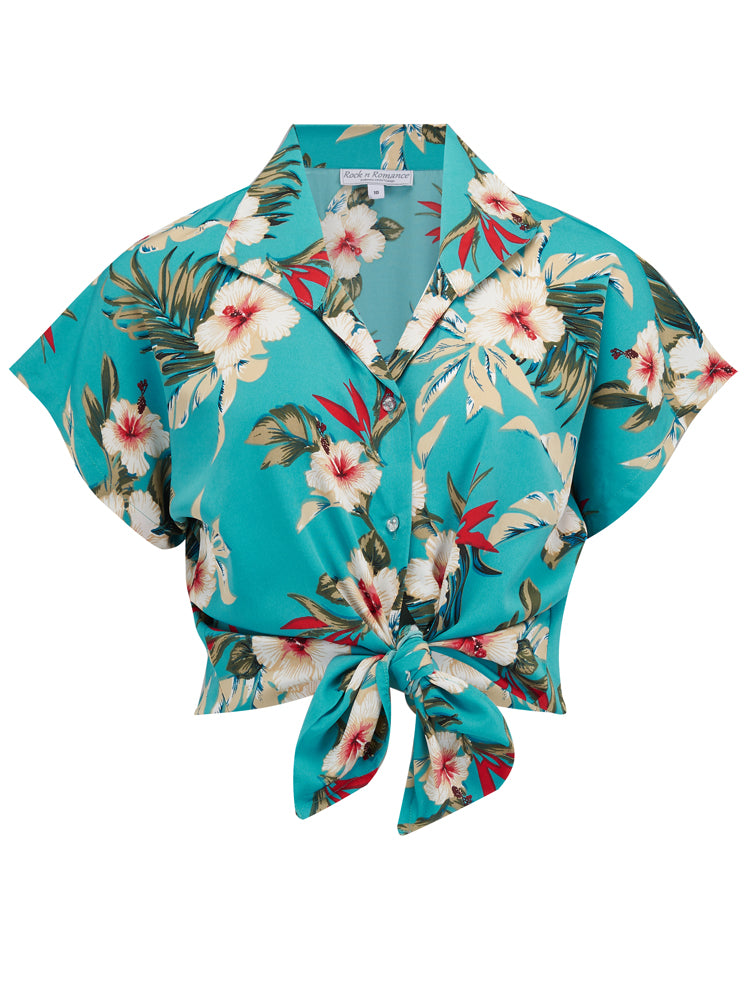 Retro Tiki Dress – Tropical, Hawaiian Dresses Pre-Order Tuck in or Tie Up Maria Blouse in Teal Hawaiian Print 1950s Tiki Inspired Style £29.00 AT vintagedancer.com