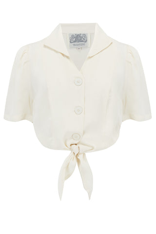 "The Seamstress Of Bloomsbury ""Marilyn"" Tie Front Blouse in Cream, Classic 1940s Vintage Style - RocknRomance Clothing"