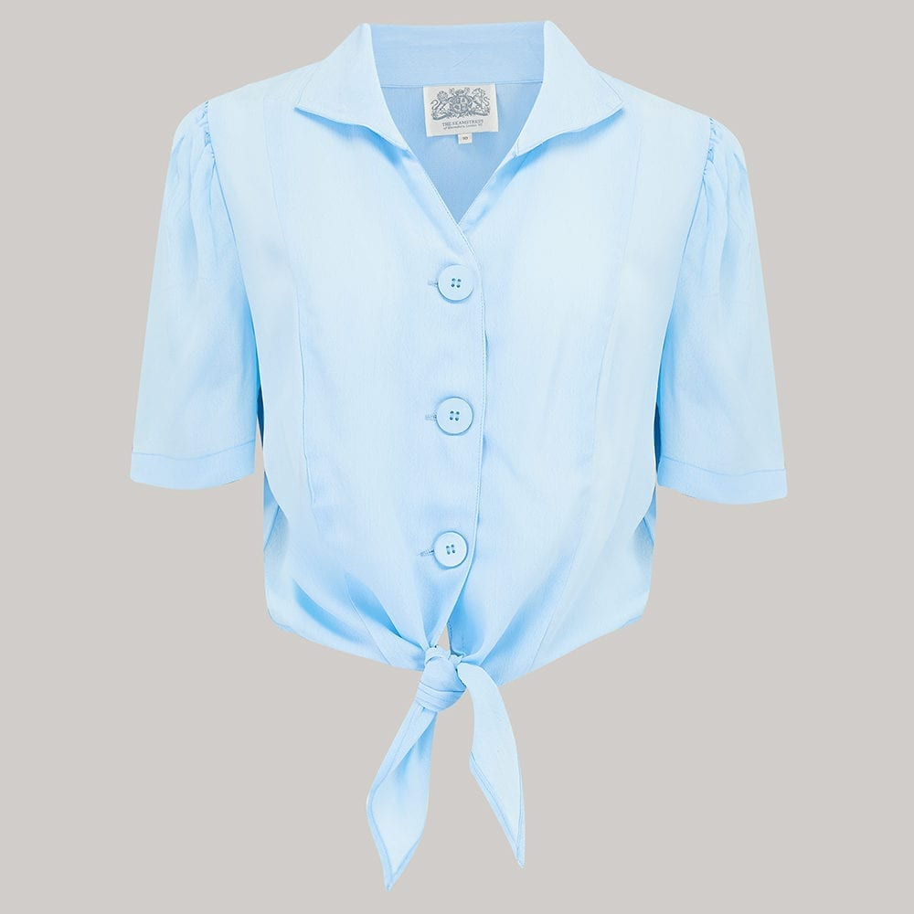 940's Vintage Inspired 'Marilyn' Tie-Shirt in 'Powder Blue' by The Seamstress of Bloomsbury - RocknRomance True 1940s & 1950s Vintage Style