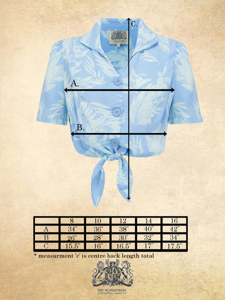 Spec Sheet Size Guide 1940's Vintage Inspired 'Marilyn' Tie-Shirt in 'Blue Hawaii' by The Seamstress of Bloomsbury