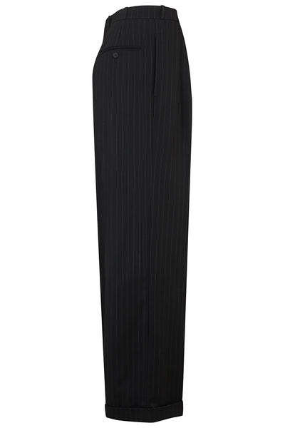 The Seamstress Of Bloomsbury Black Pinstripe Oxford Bags Mens 1940s Inspired Trousers. - RocknRomance Clothing