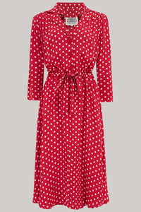 Milly dress in Red Polka , A Classic 1940s Inspired Day dress, True Vintage Style - RocknRomance True 1940s & 1950s Vintage Style