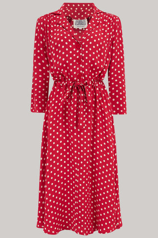 The Seamstress of Bloomsbury Milly dress in Red Polka , A Classic 1940s Inspired Day dress, True Vintage Style - RocknRomance Clothing