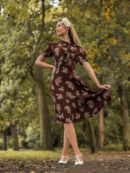 The Seamstress of Bloomsbury Kathy Dress in Brown Floral, A Classic 1940s Inspired sophisticated, True Vintage Style - RocknRomance Clothing