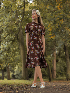 Kathy Dress in Brown Floral, A Classic 1940s Inspired sophisticated, True Vintage Style - RocknRomance True 1940s & 1950s Vintage Style