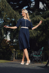 "The Seamstress Of Bloomsbury ""Lace Collar "" Dress in Navy Blue with Contrast Lace Collar, Classic 1940s True Vintage Style - RocknRomance Clothing"