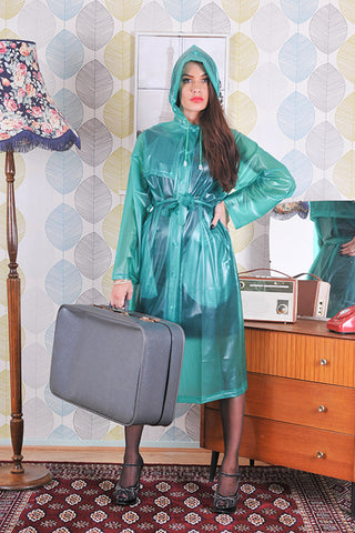 "** SAMPLE SALE ** 1950s Style Inspired ""Modern Girl Rain Mac"" in Green Semi Transparentr - RocknRomance True 1940s & 1950s Vintage Style"