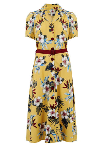 """Charlene"" Shirtwaister Dress in Mustard Hawaiian Print, Perfect 1950s Tiki Style"