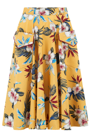 "Rock n Romance ""Swing Skirt"" with Pockets in Mustard Hawaiian Print, Authentic 1950s Tiki Vintage Style - RocknRomance Clothing"