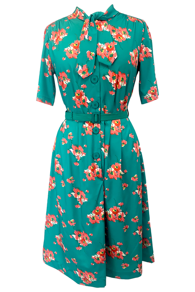 "Rock n Romance ""Casidy"" Pussy Bow Dress in Green Floral, Perfect 1950s Style - RocknRomance Clothing"