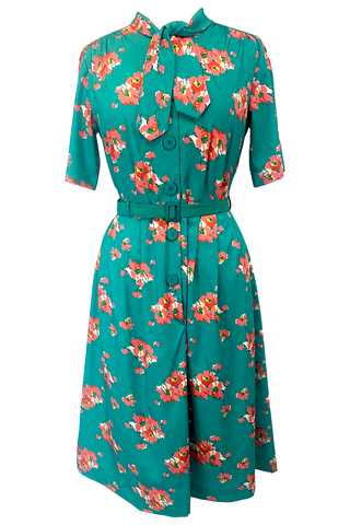 "Rock n Romance ""Casidy"" Pussy Bow Dress in Green Floral, Perfect 1950s Style .. AW19 - RocknRomance Clothing"