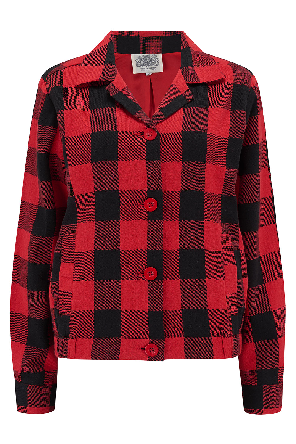 "The Seamstress Of Bloomsbury Short 40's ""Nicki"" Jacket Check in red/black check, Authentic & Classic 1940s Vintage Inspired Style - RocknRomance Clothing"