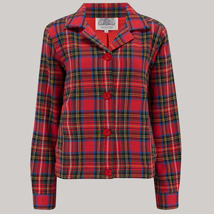 "The Seamstress Of Bloomsbury Short 40's ""Nicki"" Jacket Check in Red/blue Plaid, Authentic & Classic 1940s Vintage Inspired Style - RocknRomance Clothing"