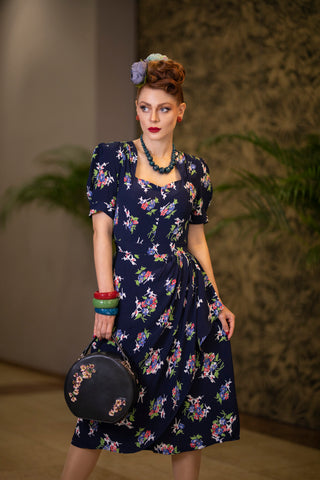The Seamstress of Bloomsbury Shelly Dress in Navy Floral Dancer Print, A Classic 1940s Inspired wiggle dress, True Vintage Style - RocknRomance Clothing