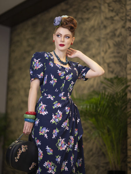 Shelly Dress in Navy Floral Dancer Print, A Classic 1940s Inspired wiggle dress, True Vintage Style - RocknRomance True 1940s & 1950s Vintage Style