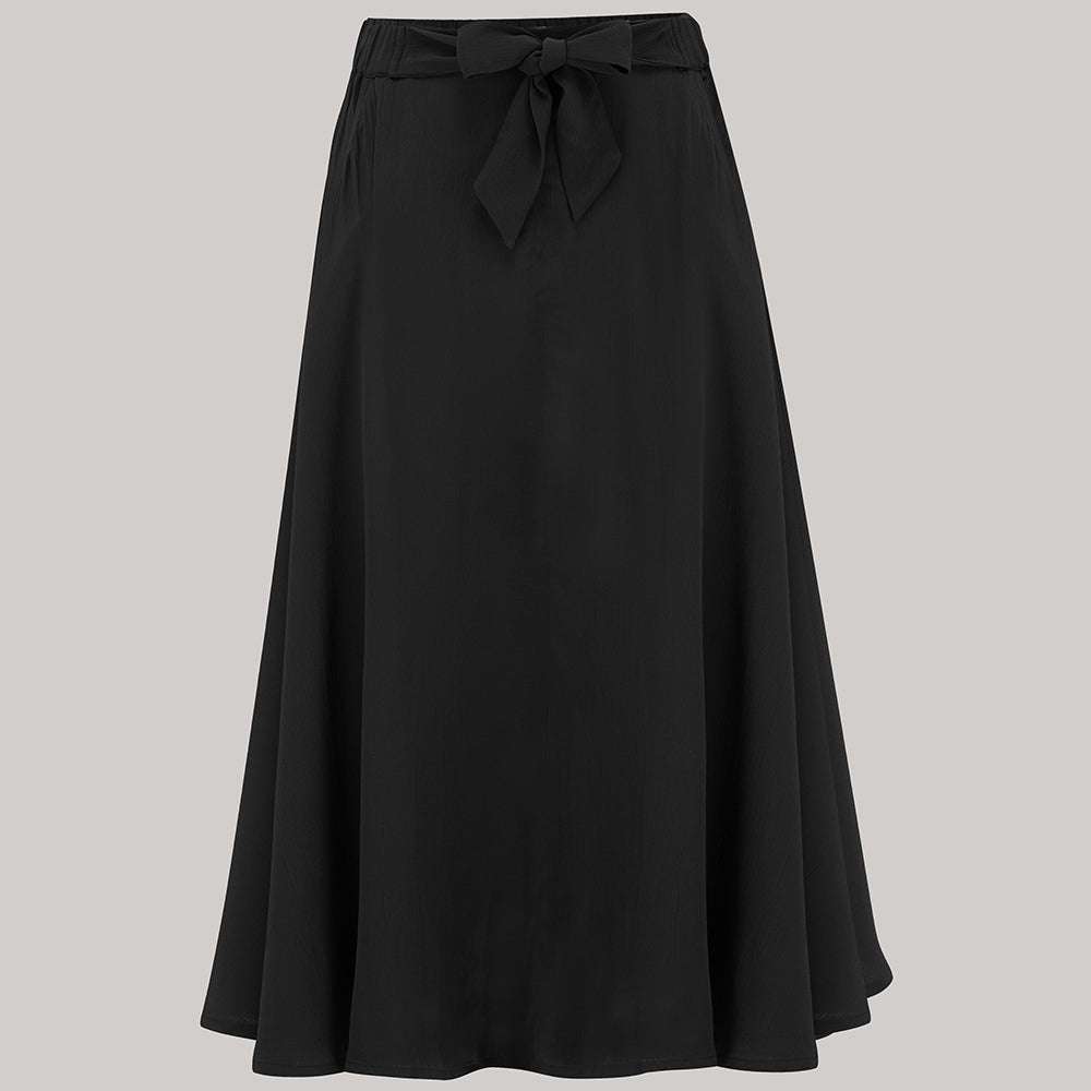 1940s Style Skirts- Vintage High Waisted Skirts Patricia swing skirt  in Solid Black  Classic  Authentic Vintage 1940s Style £49.00 AT vintagedancer.com