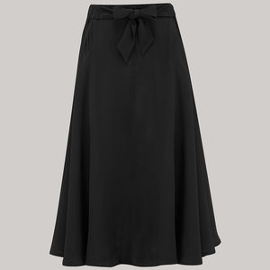 The Seamstress Of Bloomsbury Patricia swing skirt in Solid Black Classic & Authentic Vintage 1940s Style - RocknRomance Clothing