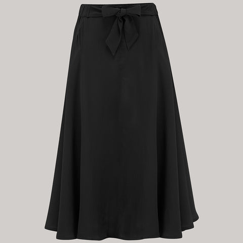 Patricia swing skirt in Solid Black Classic & Authentic Vintage 1940s Style - RocknRomance True 1940s & 1950s Vintage Style