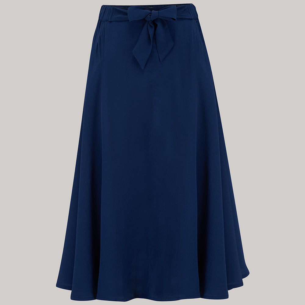 1940s Style Skirts- Vintage High Waisted Skirts Patricia swing skirt  in Navy Blue  Classic  Authentic Vintage 1940s Style £49.00 AT vintagedancer.com