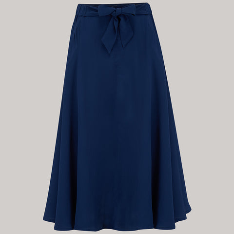The Seamstress Of Bloomsbury Patricia swing skirt in Navy Blue Classic & Authentic Vintage 1940s Style - RocknRomance Clothing