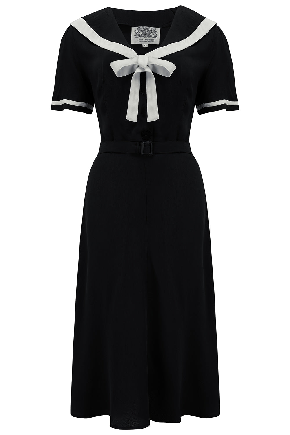 Patti Dress In 1940s Solid Black With Contrast Collar, Authentic true vintage style - RocknRomance True 1940s & 1950s Vintage Style