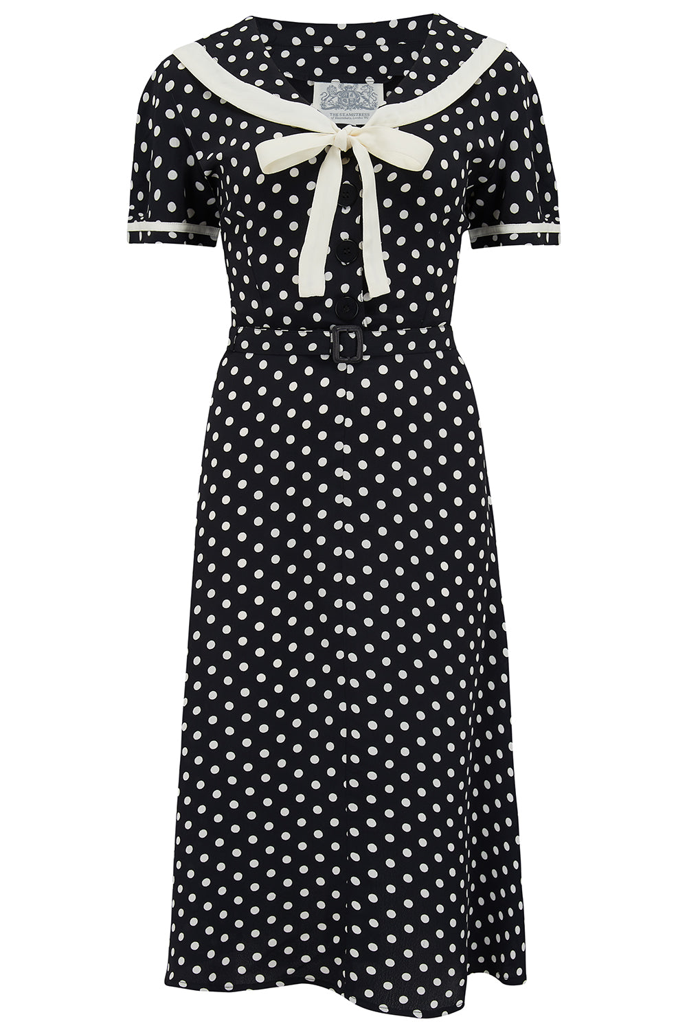 1940s Dresses | 40s Dress, Swing Dress, Tea Dresses Patti Dress In 1940s Black With White Polka dot And Contrast Collar Authentic true vintage style £79.00 AT vintagedancer.com
