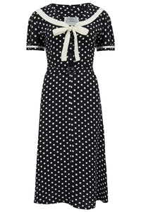 Patti Dress In 1940s Black With White Polka dot And Contrast Collar, Authentic true vintage style - RocknRomance True 1940s & 1950s Vintage Style