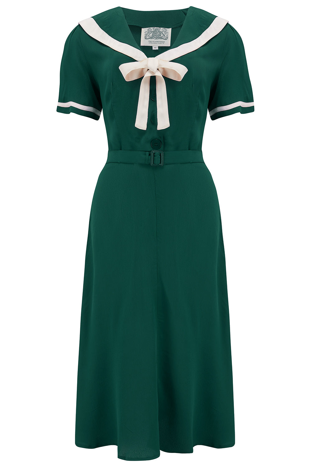 Patti Dress In 1940s Solid Green With Contrast Collar, Authentic true vintage style - RocknRomance True 1940s & 1950s Vintage Style