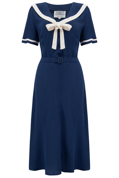 The Seamstress Of Bloomsbury Patti 1940s Nautical Sailor Dress in Navy, Authentic true vintage style - RocknRomance Clothing