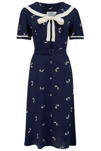 Patti Dress In 1940s Navy Doggy Print , Authentic true vintage style - RocknRomance True 1940s & 1950s Vintage Style