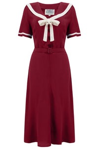 The Seamstress Of Bloomsbury Patti 1940s Nautical Sailor Dress in Wine, Authentic true vintage style - RocknRomance Clothing