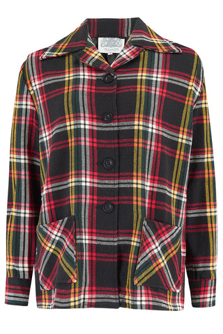 "The Seamstress Of Bloomsbury ""Pearl"" Pendleton Style 49er Lightweight Jacket in Black/Yellow Plaid Cotton, Classic 1940's Style - RocknRomance Clothing"