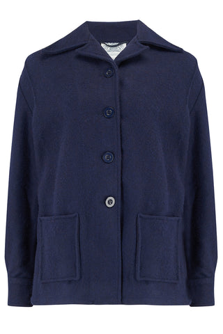 """Pearl"" Pendleton Style 49er Jacket in Navy Wool, Classic 1940's Style"
