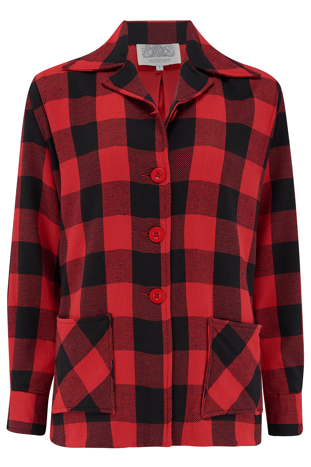 "The Seamstress Of Bloomsbury ""Pearl"" Pendleton 49er Style Jacket in 40s red/black Buffalo check, Classic & Authentic 1940s Vintage Style - RocknRomance Clothing"