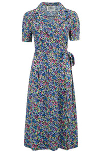 """Peggy"" Wrap Dress in Pansy Print by The Seamstress of Bloomsbury, Authentic 1940s Vintage Inspired Style"