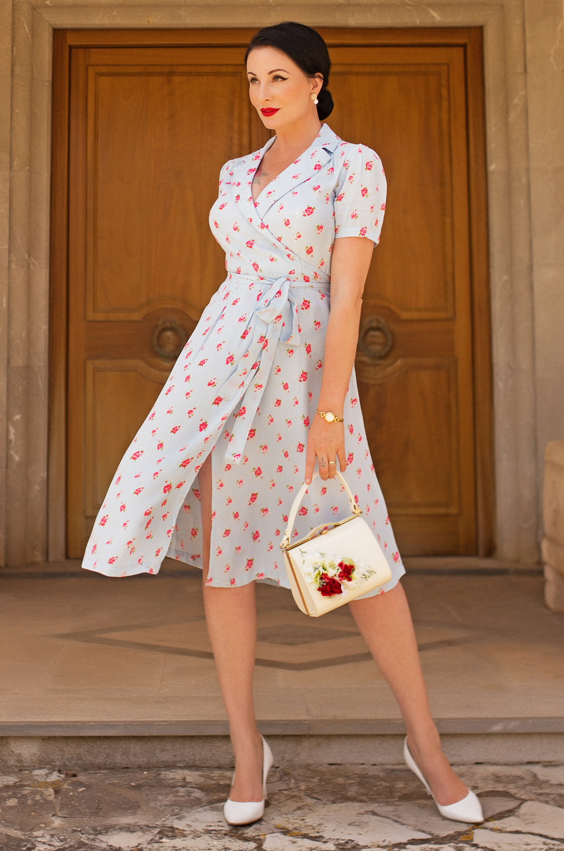 """Peggy"" Wrap Dress in Blue with Rose Print, Classic 1940s Vintage Style - RocknRomance True 1940s & 1950s Vintage Style"