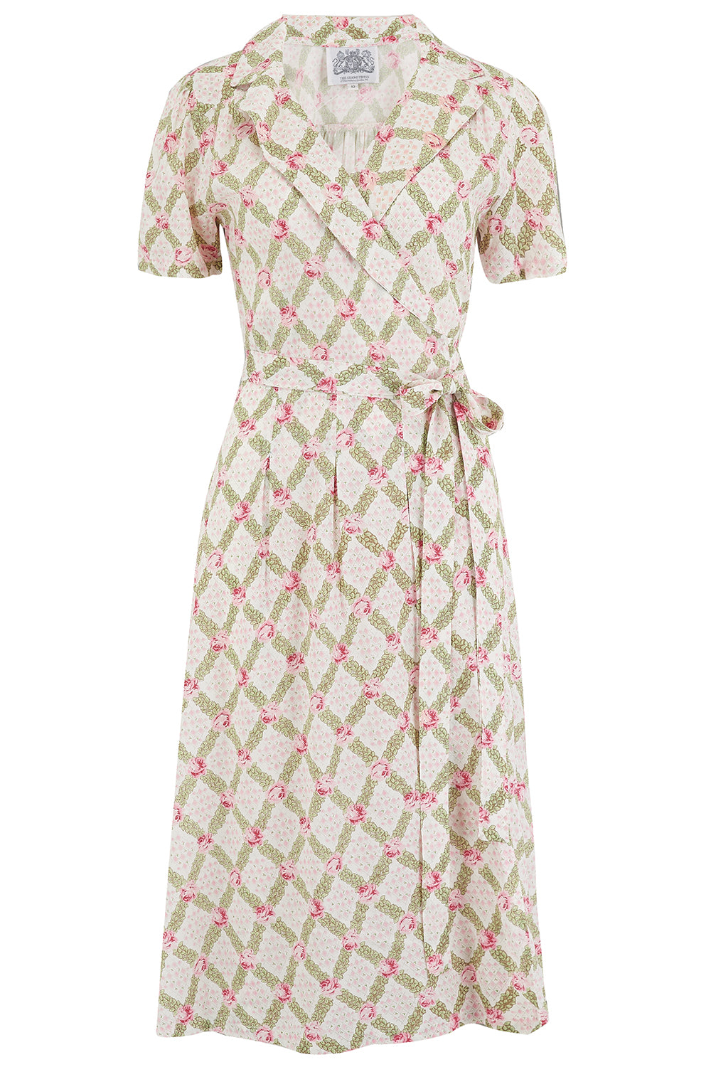"The Seamstress of Bloomsbury ""Peggy"" Wrap Dress in Rose Kiss Print, Classic 1940s Vintage Style - RocknRomance Clothing"