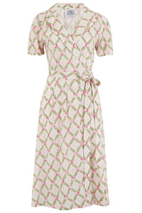 """Peggy"" Wrap Dress in Rose Kiss Print, Classic 1940s Vintage Style - RocknRomance True 1940s & 1950s Vintage Style"