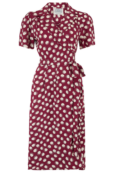 "The Seamstress of Bloomsbury ""Peggy"" Wrap Dress in Wine Moonshine, Classic 1940s True Vintage Inspired - RocknRomance Clothing"