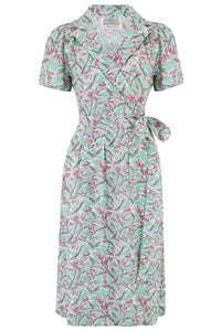 "The Seamstress of Bloomsbury ""Peggy"" Wrap Dress in Mint Harvest Classic 1940s True Vintage Inspired - RocknRomance Clothing"