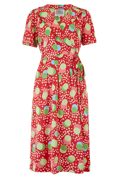 "The Seamstress of Bloomsbury ""Peggy"" Wrap Dress in Atomic Satin Print, Classic 1940s Vintage Style - RocknRomance Clothing"