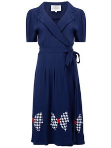 "The Seamstress of Bloomsbury ""Peggy"" Wrap Dress in Navy Blue With Large Hand Stitched Bow, Classic 1940s Style - RocknRomance Clothing"