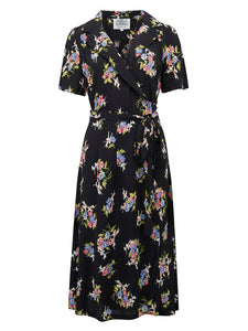 """Peggy"" Wrap Dress in Black Floral Dancer Print, Classic 1940s Vintage Inspired"
