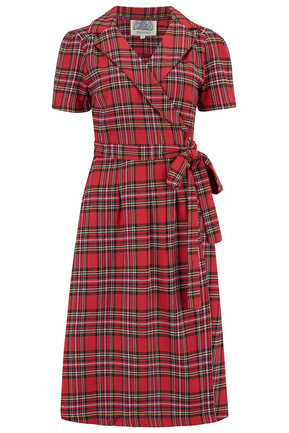 """Peggy"" Wrap Dress in Traditional Red Tartan , Authentic 1940s Vintage Style"