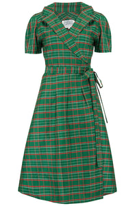 "The Seamstress of Bloomsbury ""Peggy"" Wrap Dress in Green Taffeta Tartan, Classic 1940s Vintage Style - RocknRomance Clothing"