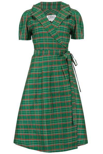 """Peggy"" Wrap Dress in Green Taffeta Tartan, Classic 1940s Vintage Style The Seamstress Of Bloomsbury"