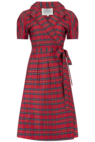 """Peggy"" Wrap Dress in Red Taffeta Tartan, Classic 1940s Vintage Style The Seamstress Of Bloomsbury"